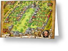 University Of Virginia Academical Village  With Scroll Greeting Card