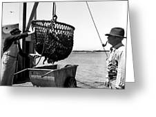 Unloading Fish From Monterey's Wharf Two Circa 1950  Greeting Card