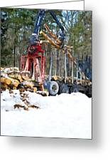 Unloading Of Logs On Transport Greeting Card