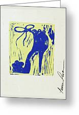 Untitled Shoe Print In Blue And Green Greeting Card