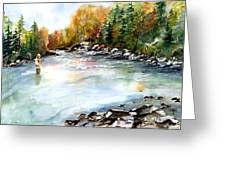 Up Stream Greeting Card