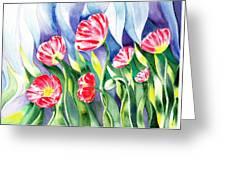 Upcoming Wind Poppy Field Greeting Card by Irina Sztukowski
