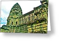Upper Level Tower In Angkor Wat In Angkor Wat Archeological Park Near Siem Reap-cambodia Greeting Card