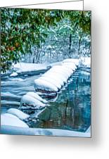 Upper Part Of Bond Falls In Winter Greeting Card