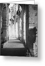 Upper Walkway With Arches Of The Old Roman Colloseum At El Jem Tunisia Greeting Card