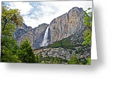 Upper Yosemite Falls From The Valley Floor In Yosemite National Park-california Greeting Card