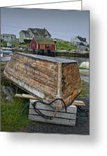 Upside Down Boat In Peggy's Cove Harbour Greeting Card