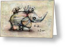 Upside Down Elephants Greeting Card by Karin Taylor