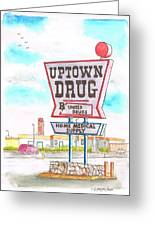 Uptown Drug Sing In Route 66, Andy Devine Ave., Kingman, Arizona Greeting Card