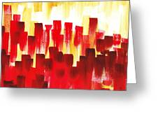 Urban Abstract Red City Lights Greeting Card
