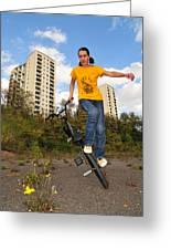 Urban Bmx Flatland With Monika Hinz Greeting Card