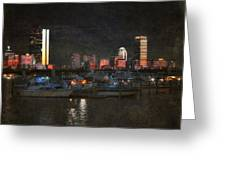 Urban Boston Skyline Greeting Card