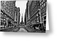 Urban Canyon - Philadelphia City Hall Greeting Card