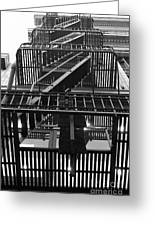 Urban Fabric - Fire Escape Stairs - 5d20592 - Black And White Greeting Card by Wingsdomain Art and Photography