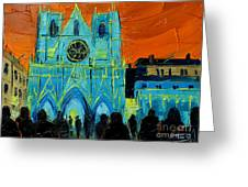 Urban Story - The Festival Of Lights In Lyon Greeting Card