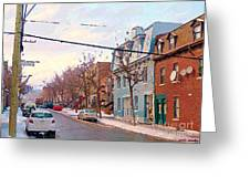 Urban Winter Landscape Colors Of Quebec Cold Day Pointe St Charles Street Scene Montreal  Greeting Card