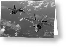 U.s. Air Force F-22 Raptors In Flight Near Guam. Greeting Card