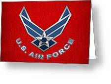 U. S. Air Force  -  U S A F Logo On Red Leather Greeting Card