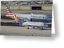 Us Airways Airbus A319 N826aw Arizona American Boeing 787 N801ac Phoenix Sky Harbor March 10 2015 Greeting Card
