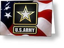 U. S. Army Logo Over American Flag. Greeting Card