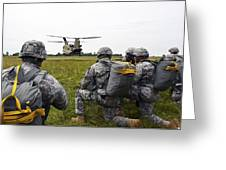 U.s. Army Paratroopers Prepare To Board Greeting Card