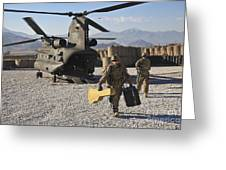 U.s. Army Sergeant Helps Unload Band Greeting Card