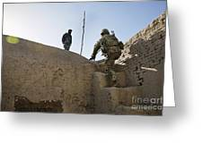 U.s. Army Soldier Climbs Stairs Greeting Card