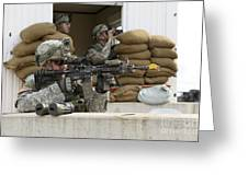 U.s. Army Soldier Looks Down The Scope Greeting Card