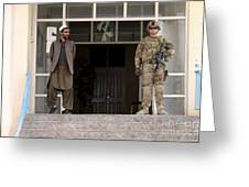 U.s. Army Soldier Stands Guard In Farah Greeting Card