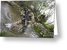 U.s. Army Soldier Walks Through A Creek Greeting Card