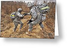 U.s. Army Soldiers Helps A Fellow Greeting Card