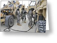 U.s. Army Soldiers Jump Start A Light Greeting Card
