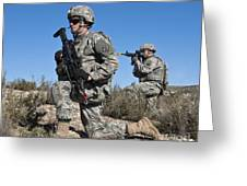 U.s. Army Soldiers Scan The Terrain Greeting Card