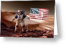 Us Astronaut On Mars Greeting Card