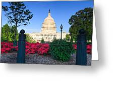 Us Capitol And Red Azaleas Greeting Card