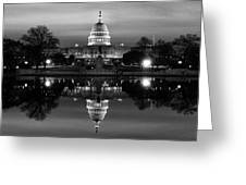 U.s. Capitol Building & Reflecting Greeting Card