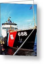Us Coast Guard Ship Greeting Card by Thomas R Fletcher