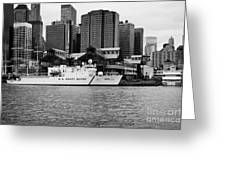 Us Coastguard Cutter Vessel Ship Berthed In Lower Manhattan On The East River New York City Greeting Card