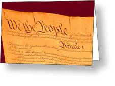 Us Constitution Closest Closeup Violet Red Background Greeting Card