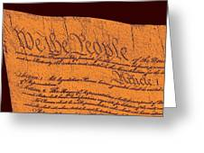 Us Constitution Closeup Sculpture Brown Background Greeting Card by L Brown