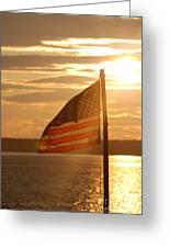 Us Flag At Sunset Greeting Card