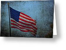 Us Flag -blue Antiqued Greeting Card