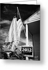 Us Flag Flying And Barack Obama 2012 Us Presidential Election Poster Florida Usa Greeting Card