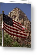 U.s. Flag In Zion National Park Greeting Card