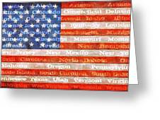 Us Flag With States Greeting Card