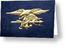 U. S. Navy S E A Ls Emblem On Blue Velvet Greeting Card
