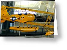 U.s. Navy Yellow Peril Float Biplane Greeting Card