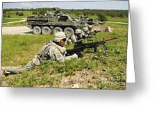 U.s. Soldiers Move Into Firing Greeting Card