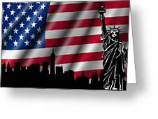 Usa American Flag With Statue Of Liberty Skyline Silhouette Greeting Card