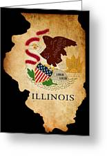 Usa American Illinois State Map Outline With Grunge Effect Flag Greeting Card